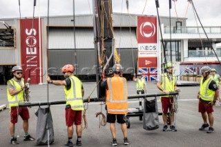 Team INEOS UK AC75 in the Americas Cup in Auckland, New Zealand