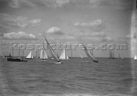 W Class yachts racing off Cowes in the Solent in the 1930s