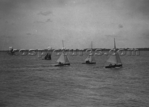 Int 14 dinghy racing off Cowes in the Solent  sail numbers 111 and 177 visible
