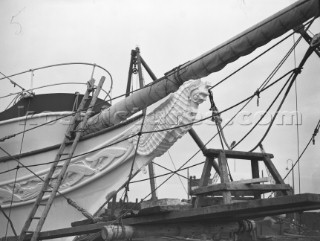 Building work on the bow of the classic superyacht Conqueror in 1939