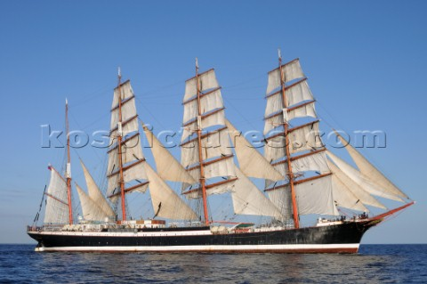 The Mir at the start of the Falmouth to Portugal Tall Ship Race