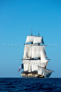 Replica frigate built in Rochefort, France by the Association Hermione La Fayette
