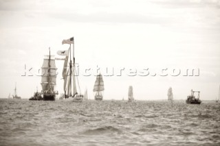 Tall Ships RI 2007 Newport RI. Photographed here leaving Newport sailing through Narragansett Bay.