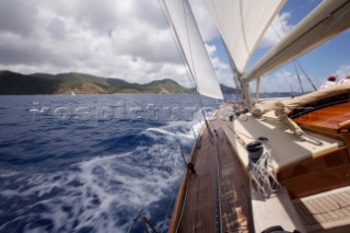 View from the deck of a  W-Class Yacht Wild Horses in the Antigua Classic Yacht Regatta, Antigua, British West Indies.