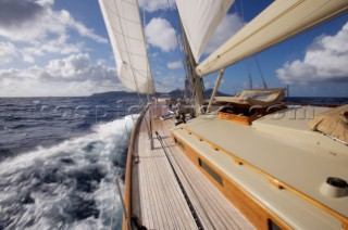 View from the deck of a  W-Class Yacht Wild Horses in near St. Bartholomew, French West Indies.